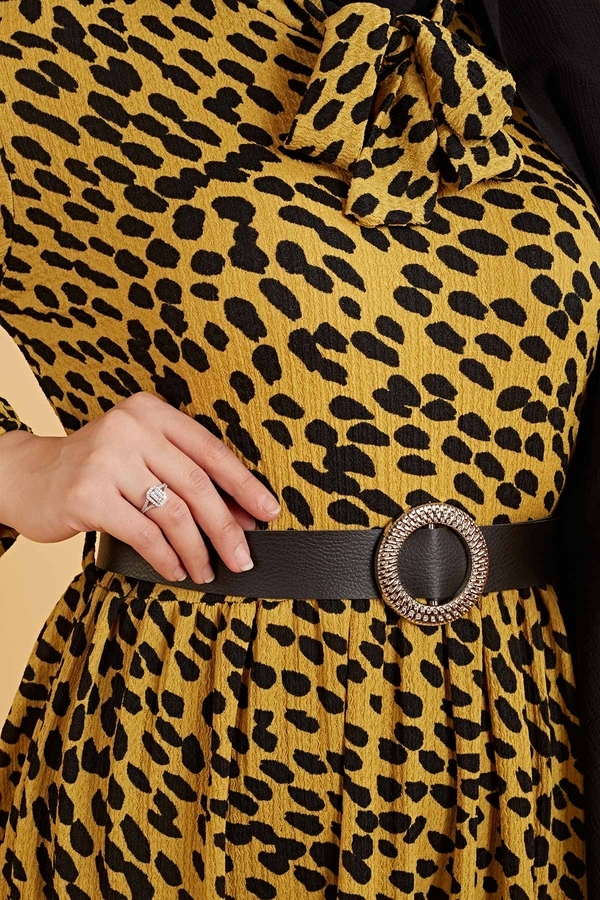Kravatlı Damla Desenli Elbise 120NY6733 Hardal