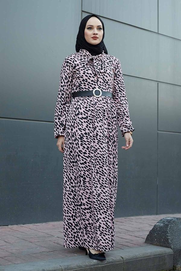 Kravatlı Damla Desenli Elbise 120NY6733 Pudra