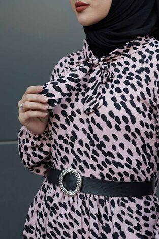Kravatlı Damla Desenli Elbise 120NY6733 Pudra - Thumbnail