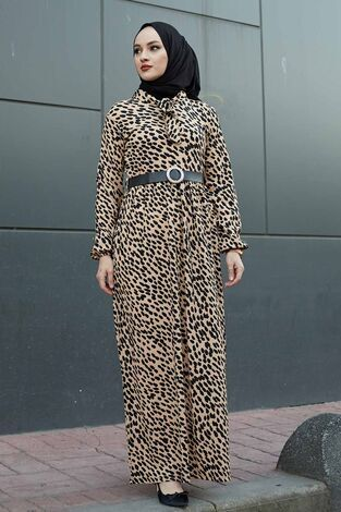 Kravatlı Damla Desenli Elbise 120NY6733 Vizon - Thumbnail