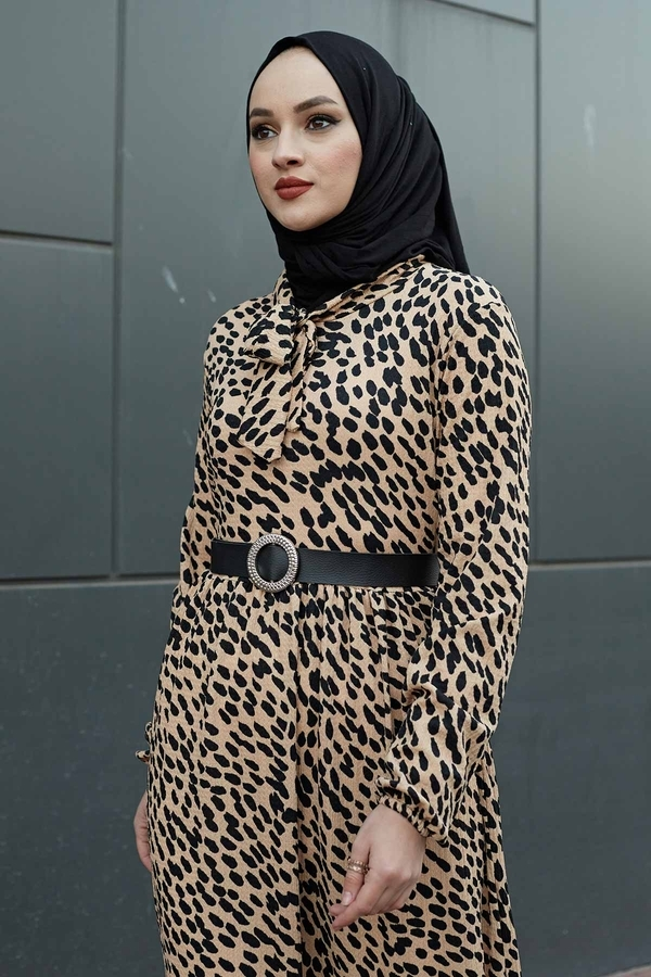 Kravatlı Damla Desenli Elbise 120NY6733 Vizon