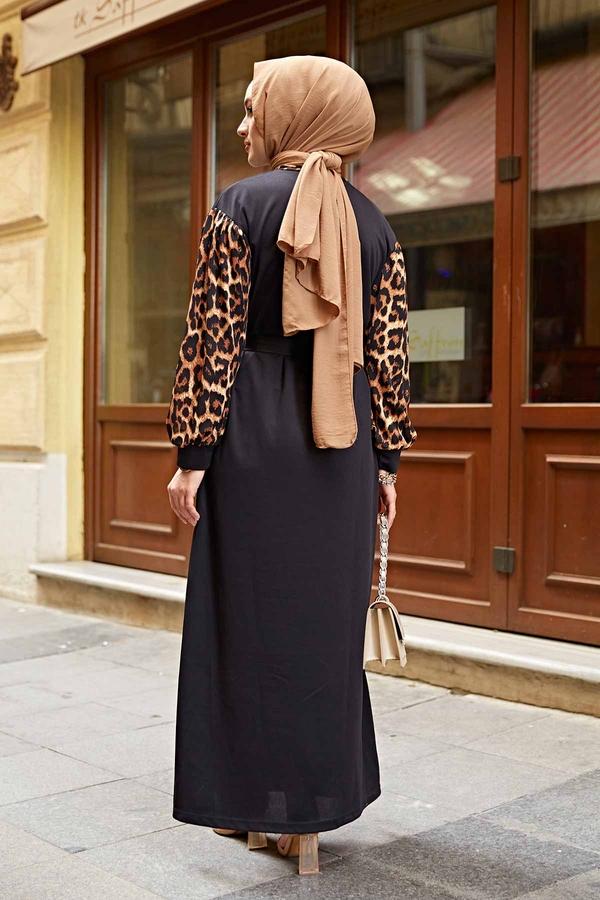 Kravatlı Leopar Desenlli Elbise 350TH3008 Siyah
