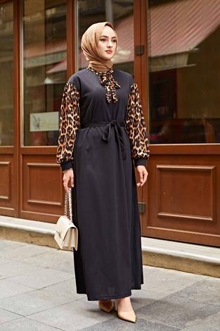 Kravatlı Leopar Desenlli Elbise 350TH3008 Siyah - Thumbnail
