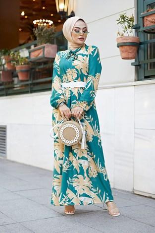 - Kravatlı Palmiye Desenli Elbise 9643-2
