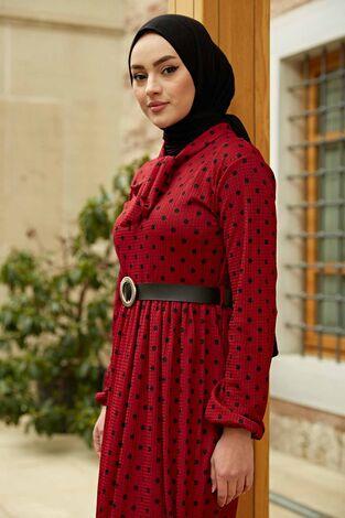 Kravatlı Puantiyeli Elbise 120NY-6733 Bordo-Siyah - Thumbnail