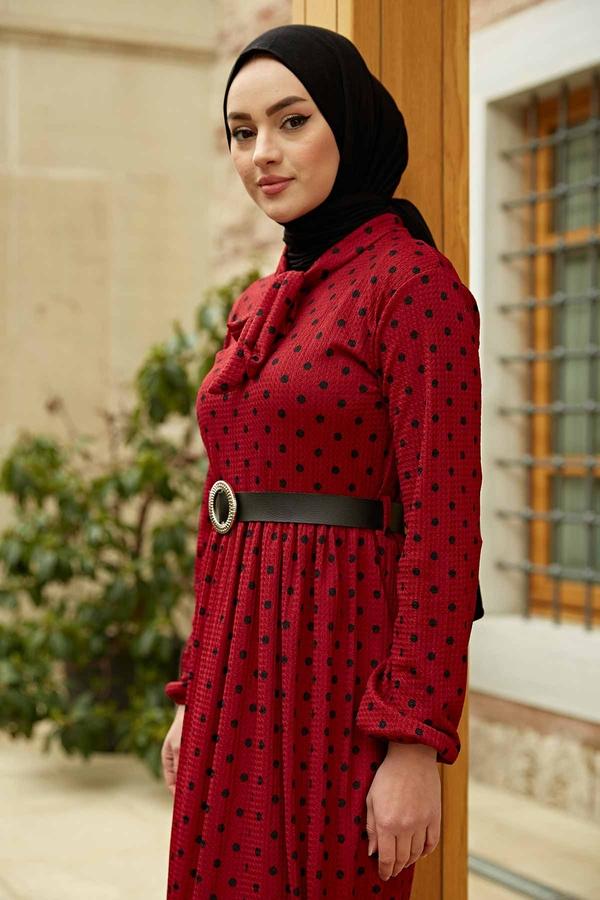 Kravatlı Puantiyeli Elbise 120NY-6733 Bordo-Siyah