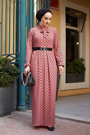 Kravatlı Puantiyeli Elbise 120NY-6733 Gülkurusu - Thumbnail