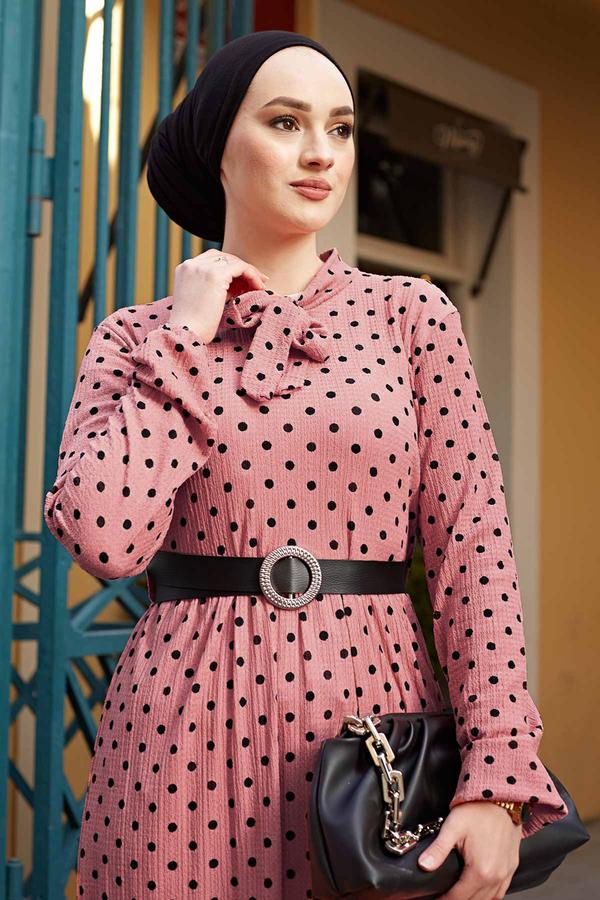 Kravatlı Puantiyeli Elbise 120NY-6733 Gülkurusu
