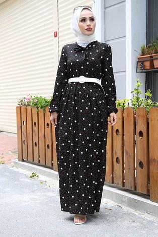 - Kravatlı Yıldız Desenli Elbise 7253-1 Siyah