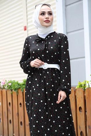 - Kravatlı Yıldız Desenli Elbise 7253-1 Siyah (1)