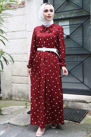 - Kravatlı Yıldız Desenli Elbise 7253-2 Bordo