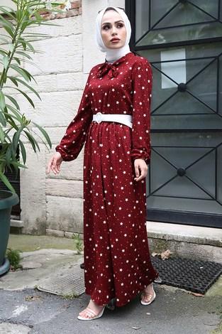 - Kravatlı Yıldız Desenli Elbise 7253-2 Bordo (1)