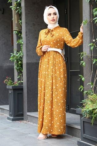 - Kravatlı Yıldız Desenli Elbise 7253-3 Hardal
