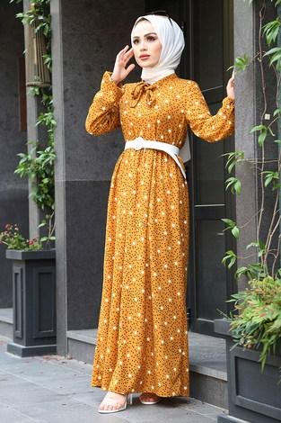 - Kravatlı Yıldız Desenli Elbise 7253-3 Hardal (1)