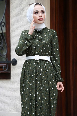 - Kravatlı Yıldız Desenli Elbise 7253-4 Haki (1)