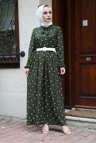 - Kravatlı Yıldız Desenli Elbise 7253-4 Haki