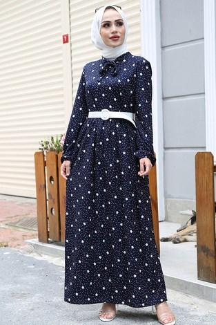 - Kravatlı Yıldız Desenli Elbise 7253-5 Lacivert