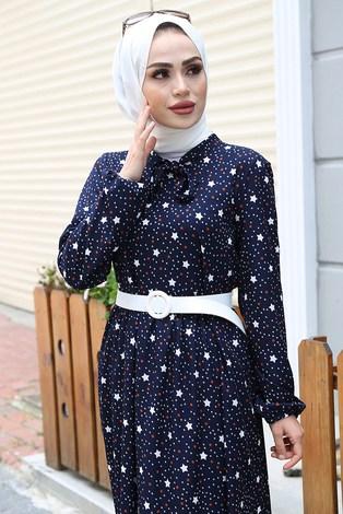 - Kravatlı Yıldız Desenli Elbise 7253-5 Lacivert (1)