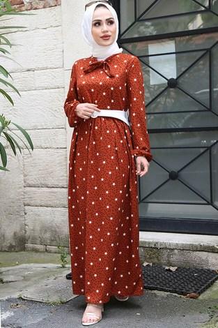 - Kravatlı Yıldız Desenli Elbise 7253-6 Kiremit