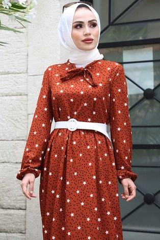 - Kravatlı Yıldız Desenli Elbise 7253-6 Kiremit (1)