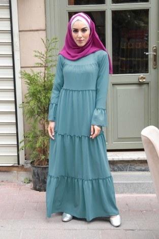 - Krep Fırfırlı Elbise 3085-14