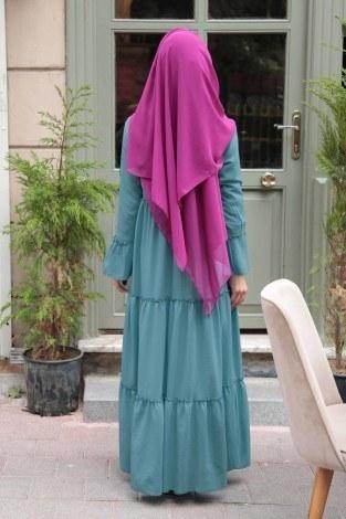 Krep Fırfırlı Elbise 3085-14 - Thumbnail