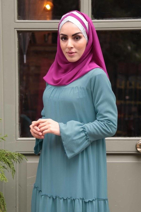 Krep Fırfırlı Elbise 3085-14