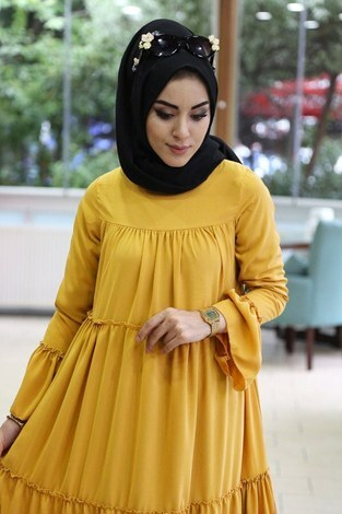 - Krep Fırfırlı Elbise 3085-16 Hardal (1)
