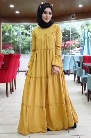 - Krep Fırfırlı Elbise 3085-16 Hardal