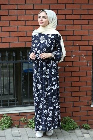 - Krep Fırfırlı Elbise 3085-24