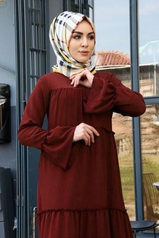 - Krep Fırfırlı Elbise 3085-40 Kiremit (1)