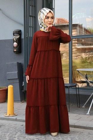 - Krep Fırfırlı Elbise 3085-40 Kiremit
