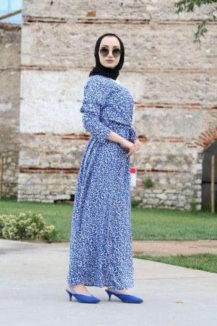 Kruvaze Yaka Elbise 3128-08 - Thumbnail