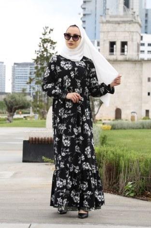 - Çiçek Desenli Elbise 1543-01