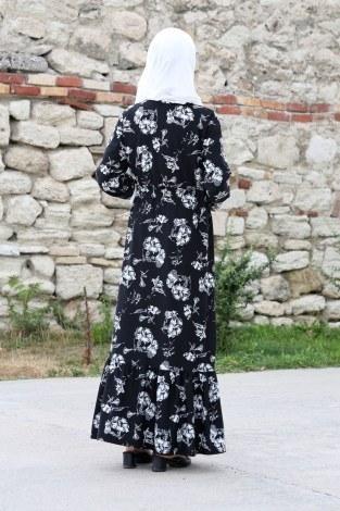 Çiçek Desenli Elbise 1543-01 - Thumbnail