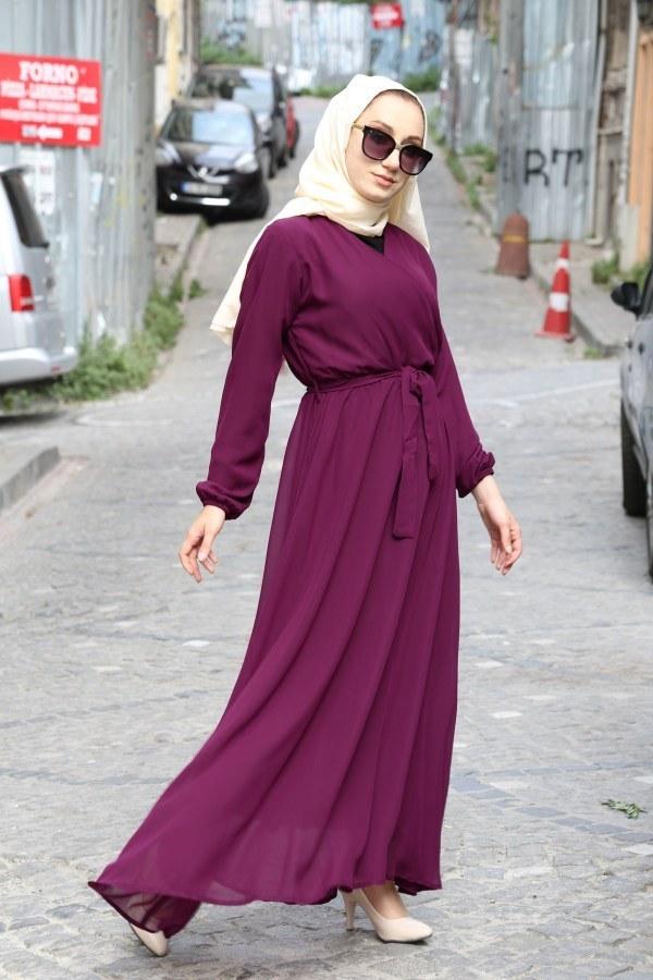 Kruvaze Yaka Şifon Elbise 3010-02