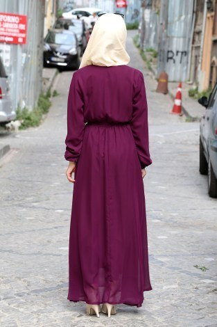 Kruvaze Yaka Şifon Elbise 3010-02 - Thumbnail