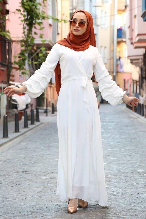 Kruvaze Yaka Şifon Elbise 1339-14