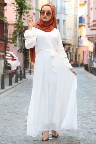 Kruvaze Yaka Şifon Elbise 1339-14 - Thumbnail