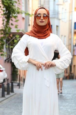 - Kruvaze Yaka Şifon Elbise 1339-14 (1)