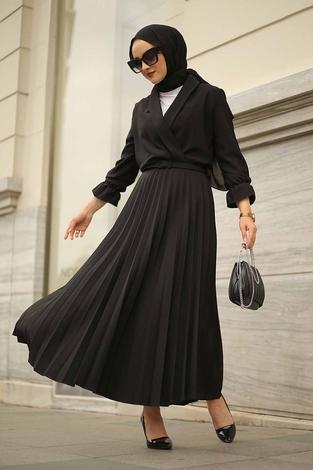 - Kruvaze Yakalı Elbise 15293-1 Siyah
