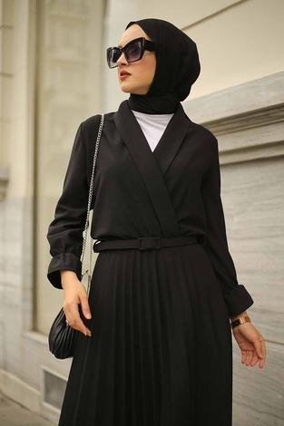 - Kruvaze Yakalı Elbise 15293-1 Siyah (1)