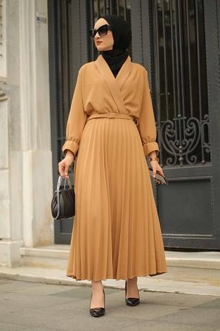 - Kruvaze Yakalı Elbise 15293-2 Camel