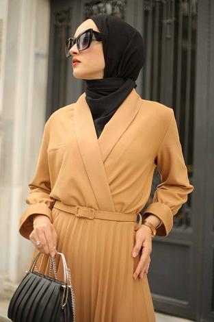 - Kruvaze Yakalı Elbise 15293-2 Camel (1)