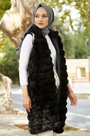 - Kürklü Şık Yelek 1448-01 Siyah (1)