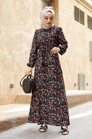 - Kuşaklı Büzgülü Elbise 5589-1 Siyah