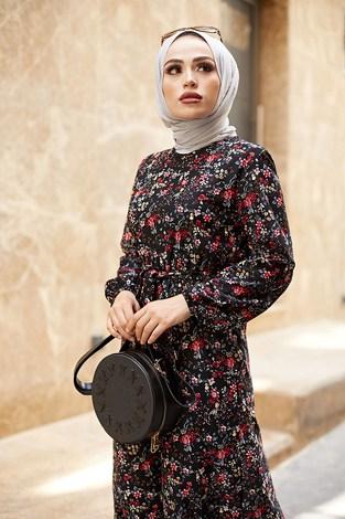 - Kuşaklı Büzgülü Elbise 5589-1 Siyah (1)