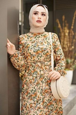 - Kuşaklı Büzgülü Elbise 5589-2 Vizon (1)