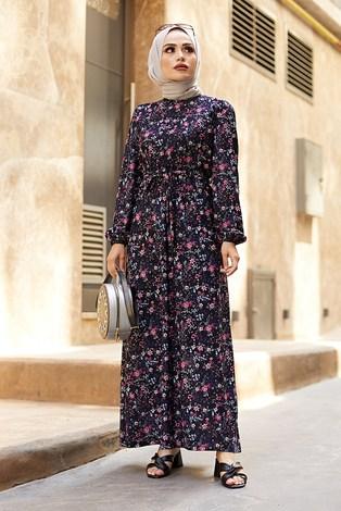 - Kuşaklı Büzgülü Elbise 5589-3 Lacivert