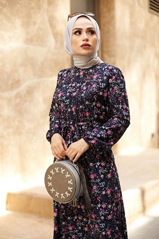 - Kuşaklı Büzgülü Elbise 5589-3 Lacivert (1)